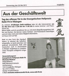 Bürgerblatt Inzigkofen vom 28. Mai 2015