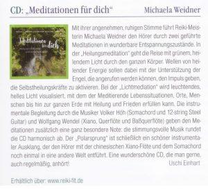 CD-Tipp Meditationen für dich- Rezension Reiki Magazin